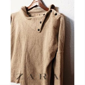 Zara trafaluc linen snap button collar pullover